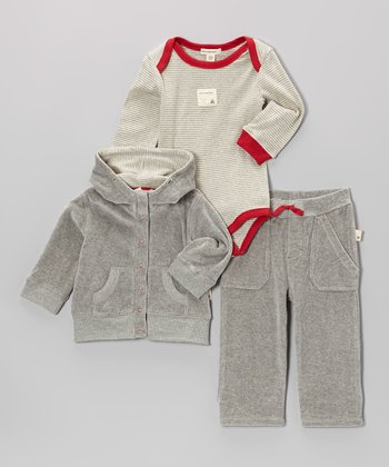 Heather Gray Velour Organic Pocket Pants Set - Infant