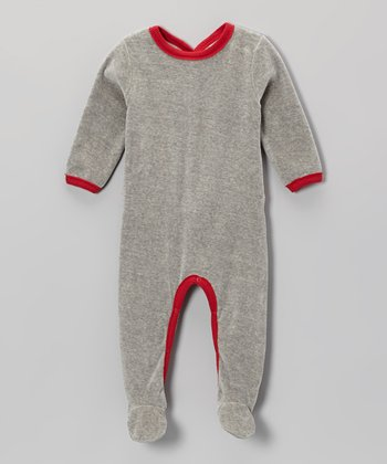 Heather Gray & Red Velour Organic Footie - Infant