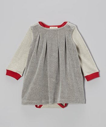 Heather Gray Organic Bodysuit & Velour Dress - Infant & Toddler