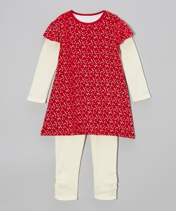 Red Bee a Star Organic Layered Tunic & White Leggings - Toddler