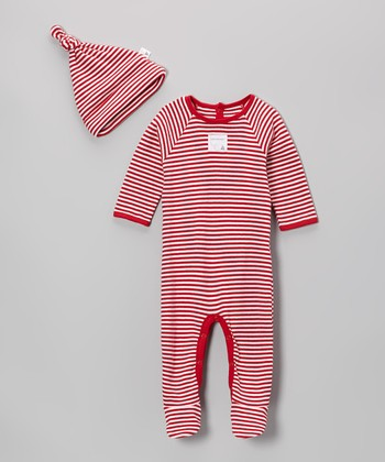 Red Stripe Organic Footie & Single-Knot Beanie - Infant