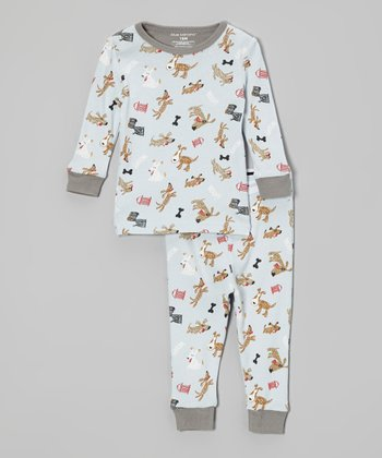 Blue & Gray Dog Pajama Set - Infant & Toddler