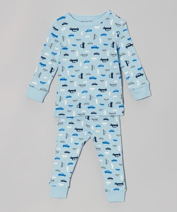 Blue & White Car Pajama Set - Infant, Toddler & Boys