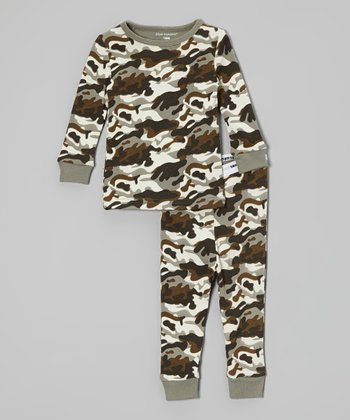 Green & Cream Camo Pajama Set - Infant, Toddler & Boys