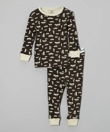 Dark Charcoal & Cream Car Pajama Set - Infant, Toddler & Boys