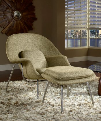 Oatmeal W Lounge Chair & Ottoman