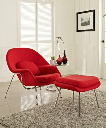 Red W Lounge Chair & Ottoman Set