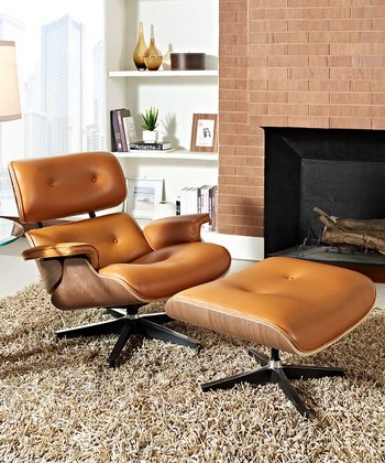 Terra-Cotta & Dark Walnut Eaze Lounge Chair & Ottoman
