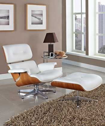 White & Natural Eaze Lounge Chair & Ottoman