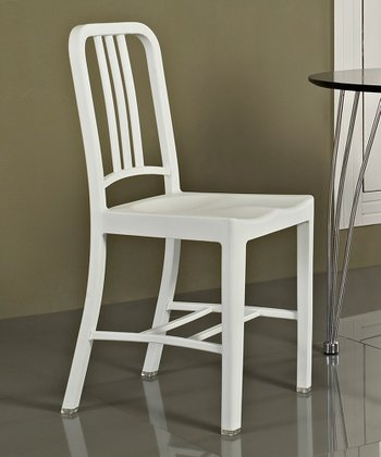 White Navy Dining Side Chair