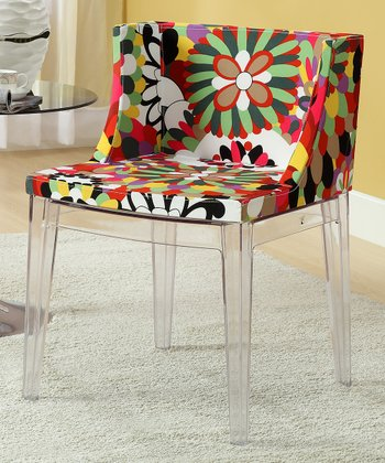 Clear Floral Accent Chair