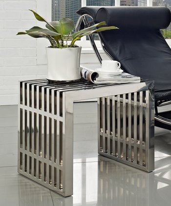 Gridiron Stainless Steel Side Table