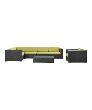 Espresso & Peridot Corona Seven-Piece Sectional Sofa Set