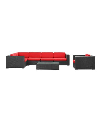 Espresso & Red Corona Seven-Piece Sectional Sofa Set