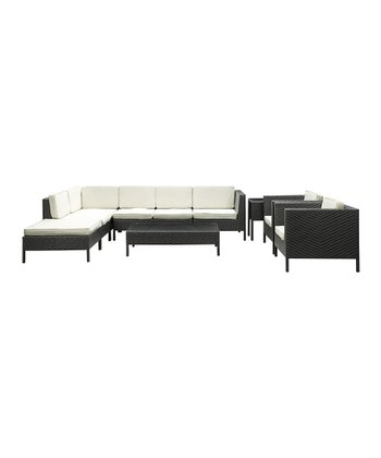 Espresso & White La Jolla Eight-Piece Sectional Sofa Set