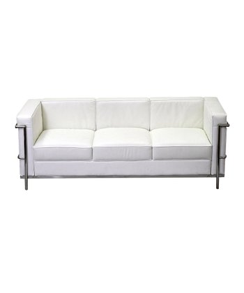 White LC2 Leather Sofa