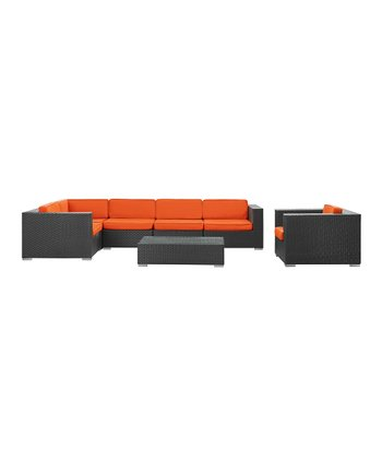 Espresso & Orange Corona Seven-Piece Sectional Sofa Set