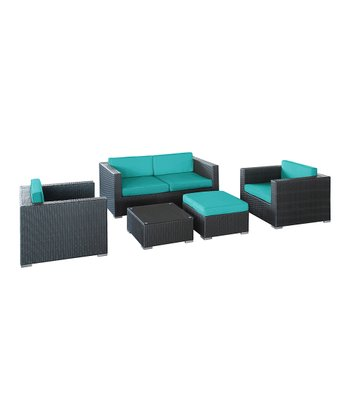 Turquoise & Espresso Malibu Five-Piece Sofa Set