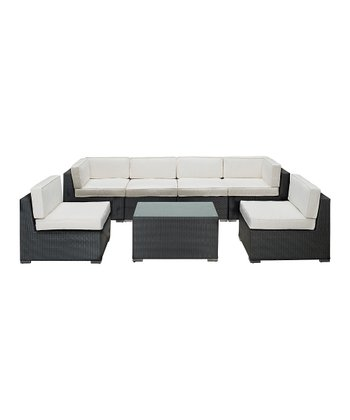Espresso & White Aero Seven-Piece Sectional Sofa Set
