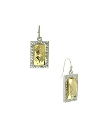 Gold & Silver Faceted Small Rectangle Drop Earrings