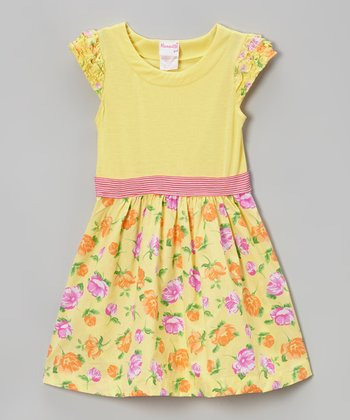 Yellow Floral Ruffle Cap-Sleeve Dress - Toddler