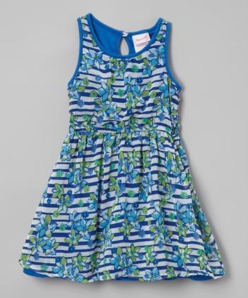 Blue Floral Stripe Dress - Toddler & Girls
