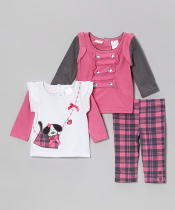 Pink Plaid Leggings Set - Infant