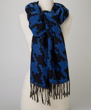 Blue & Black Houndstooth Scarf