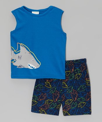 Blue Shark Pajama Set - Toddler & Boys