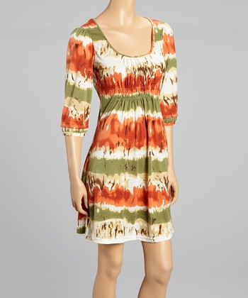 Orange & Green Shirred Scoop Neck Dress