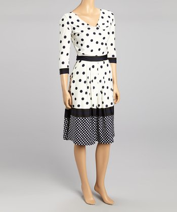 White Polka Dot Cowl Neck Dress