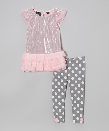 Pink Sequin Ruffle Tunic & Polka Dot Leggings - Girls