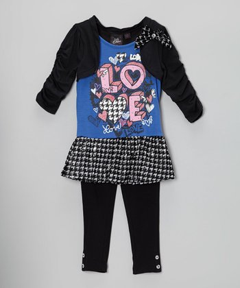 Blue & Black 'Love' Layered Tunic & Leggings - Girls