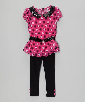 Pink Sequin Tunic & Black Leggings - Toddler & Girls
