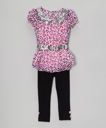 Pink Leopard Sequin Tunic & Black Leggings - Toddler & Girls
