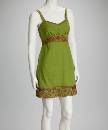 Green Embroidered Empire-Waist Dress