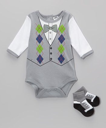 Baby Essentials Gray Argyle Vest Bodysuit & Socks - Infant