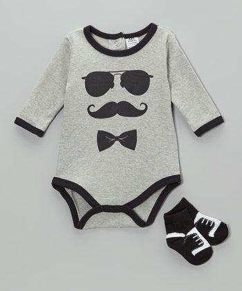 Baby Essentials Gray & Black Mustache Bodysuit & Socks - Infant