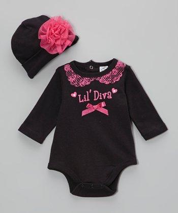 Baby Essentials Black & Pink 'Lil' Diva' Bodysuit & Beanie - Infant