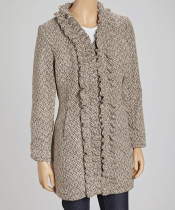 Brown & Cream Herringbone Ruffle Jacket