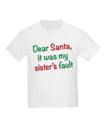 White 'Sister's Fault' Tee - Toddler & Kids