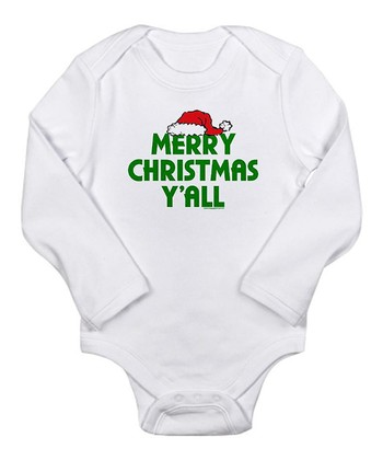 White 'Merry Christmas Y'all' Bodysuit - Infant