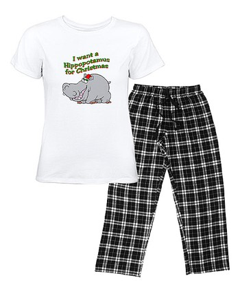 White & Black Christmas Hippo Pajama Set - Women