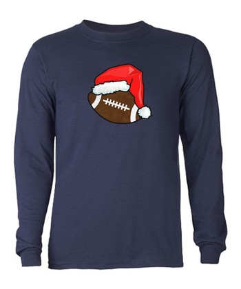 Navy Christmas Football Tee - Adult