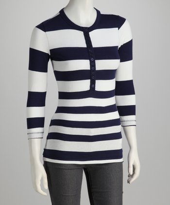 True Navy & White Stripe Henley