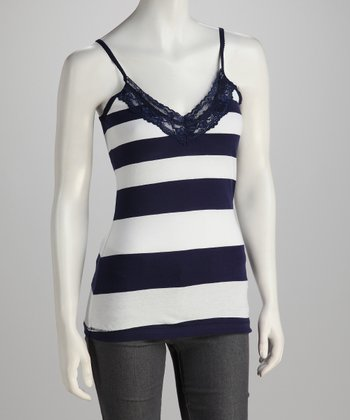 Navy & White Lace Stripe Top