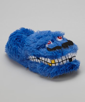 Blue Mustachio Slipper - Kids