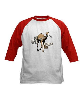 White & Red 'Whoot Woot' Raglan Crewneck Tee - Kids