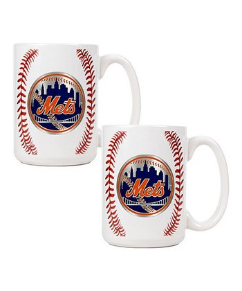 New York Mets Baseball Coffee Mug - Set of Two