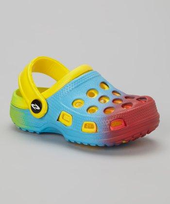 Frisky Shoes Light Blue & Yellow Clog